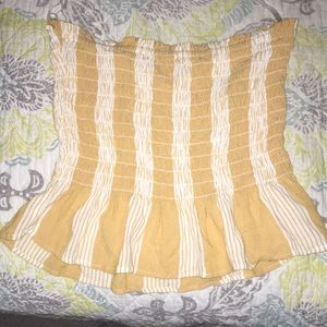 yellow and white striped tube top